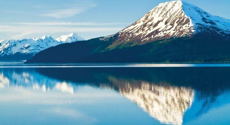 ALASKA, SUMMER SCENIC, TURNAGAIN ARM AT HIGH TIDE, CHUGACH STATE PARK