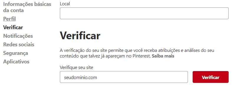 Yoast SEO Redes Sociais Pinterest Verificar