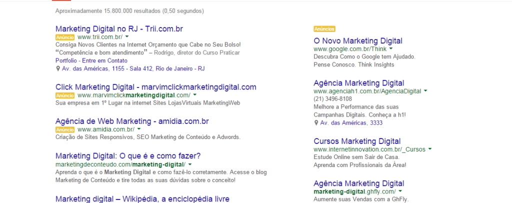 Busca no Google Marketing Digital