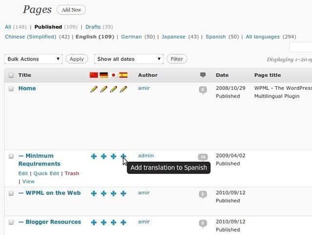site wordpress bilingue