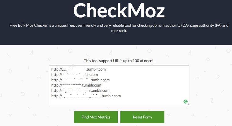 checkmoz domain authority checker