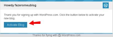 ativando blog wordpress gratis