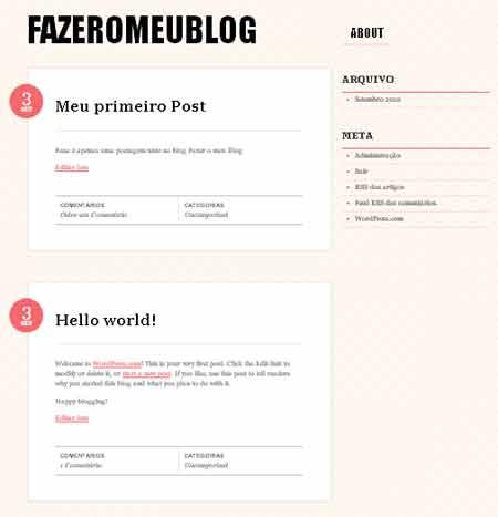 exibindo postagem blog wordpress