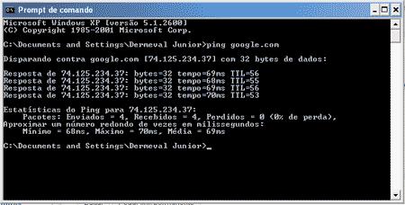 como fazer ping dominio site