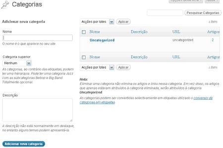 criacao atualizacao categorias wordpress