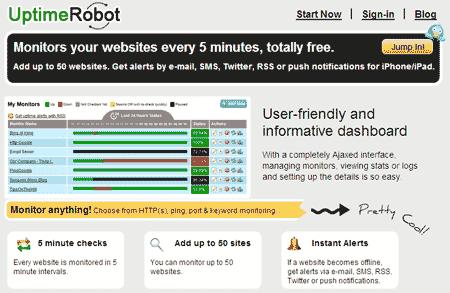 ferramenta para monitorar site blog offline