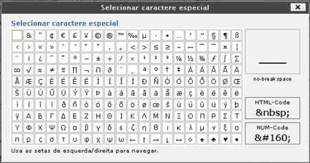 mapa caracteres