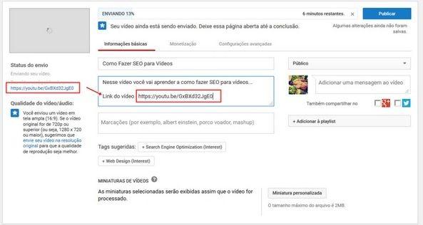 vídeos youtube seo