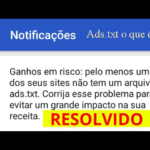 Possível perda de ganhos: Um dos seus sites não tem um arquivo ads.txt