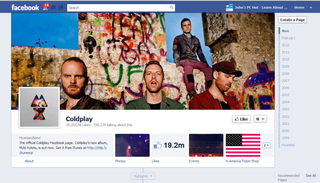 coldplay facebook fan page