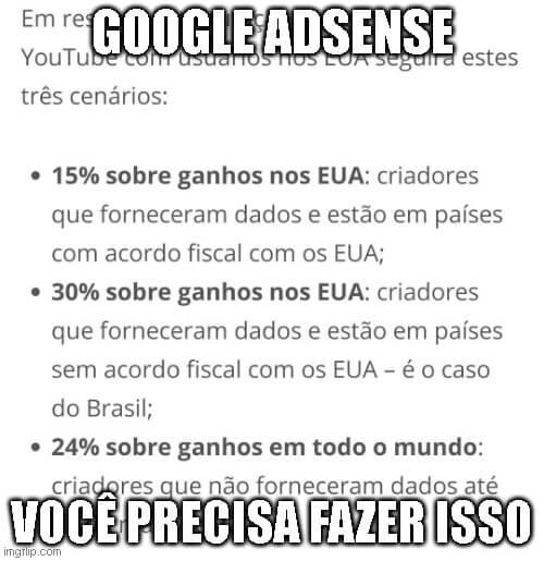 Aviso Sobre Informações Fiscais Google Adsense – O que fazer?