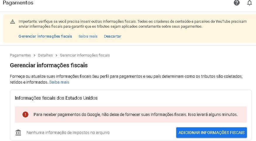 informacao fiscal google