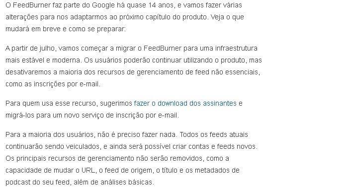 mudancas google feedburner